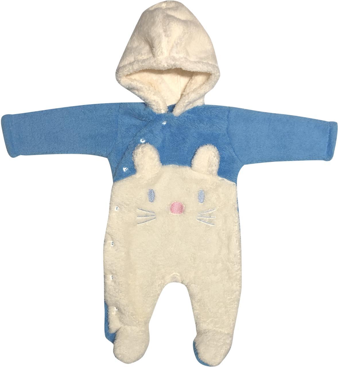 Детский тёплый человечек рост 56 0-2 мес махровый голубой на мальчика слип с капюшоном для новорожденных малышей Я775