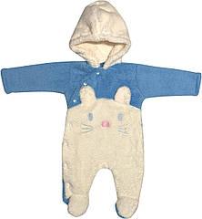 Дитячий теплий чоловічок зростання 56 0-2 міс махровий блакитний на хлопчика сліп з капюшоном для
