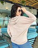 Женский свитер с капюшоном свободного фасона ангорка мягкая размер: 42-44, 46-48, 50-52, 54-56, фото 3