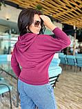 Женский свитер с капюшоном свободного фасона ангорка мягкая размер: 42-44, 46-48, 50-52, 54-56, фото 4