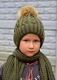 Зимняя Шапка с помпоном для мальчика 48, Серый, фото 5
