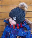 Зимняя Шапка с помпоном для мальчика 48, Серый, фото 8