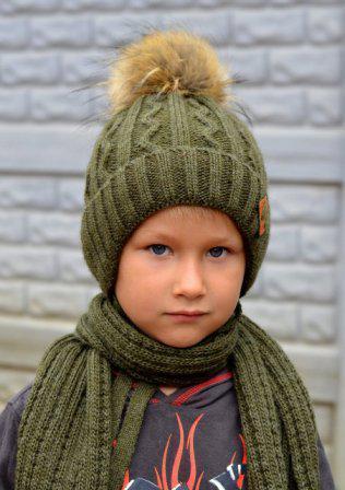 Зимняя Шапка с помпоном для мальчика 50, Зеленый
