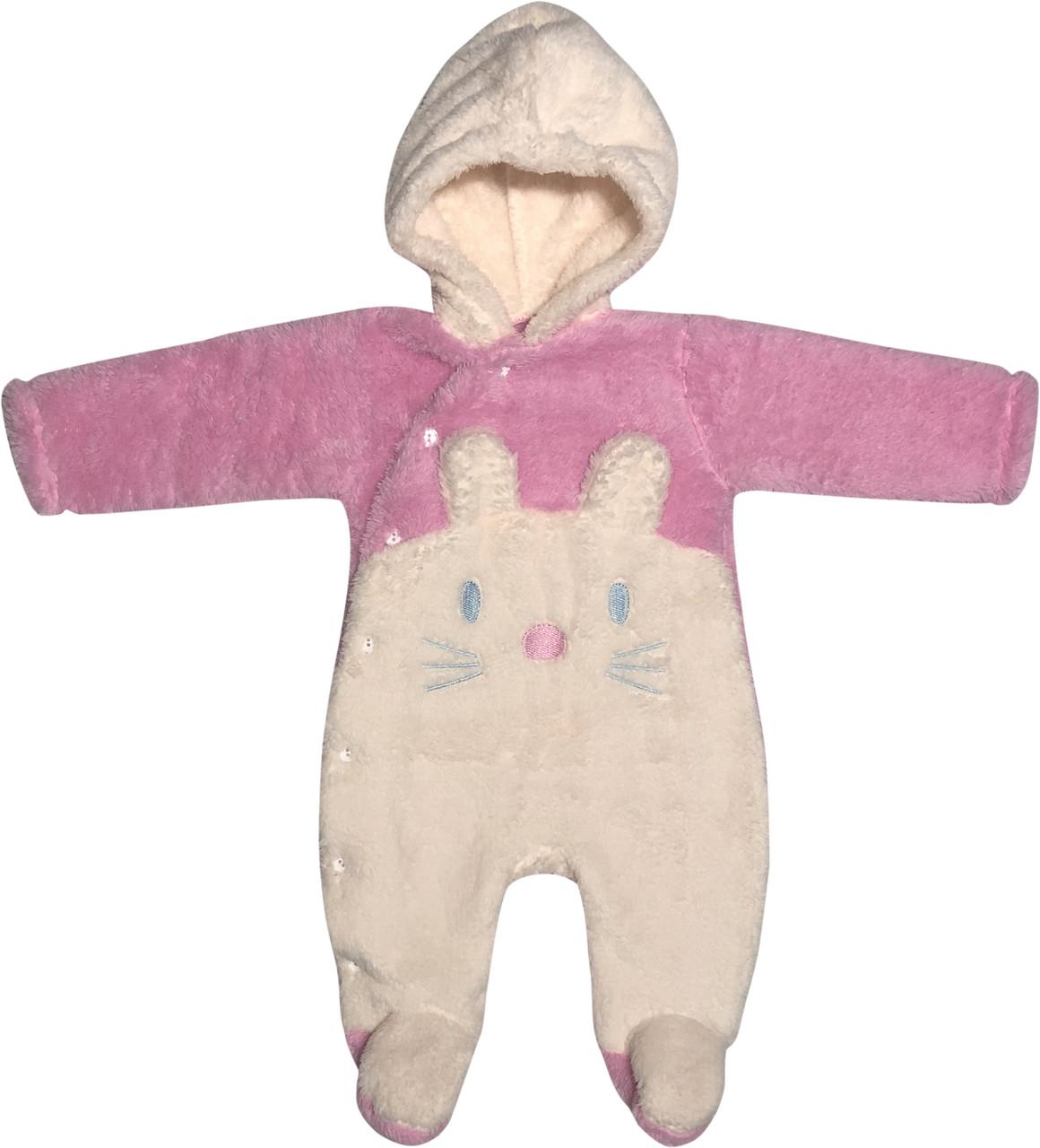 Детский тёплый человечек рост 56 0-2 мес махровый розовый на девочку слип с капюшоном для новорожденных малышей Р775