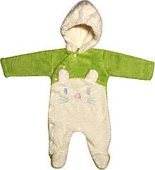 Дитячий теплий чоловічок зростання 56 0-2 міс махровий салатовий на хлопчика дівчинку сліп з капюшоном для