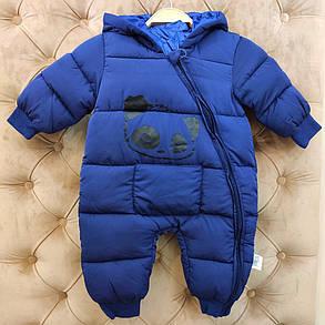 Комбинезон детский  весна-осень-еврозима синий 1-3 года. Пандочка, фото 2