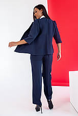 Стильний жіночий костюм з костюмної тканини середньої щільності, №106, темно-синій., фото 3
