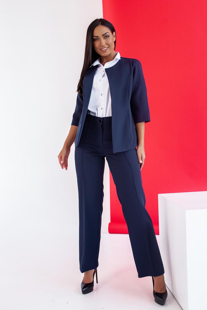 Стильний жіночий костюм з костюмної тканини середньої щільності, №106, темно-синій.