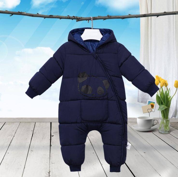 Комбинезон детский  весна-осень-еврозима синий 1-3 года. Пандочка