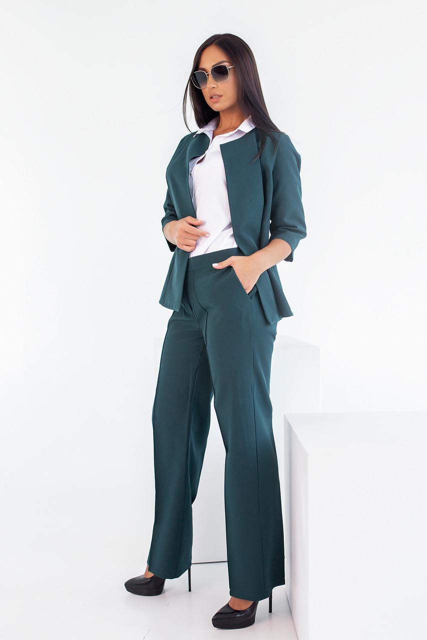 Стильный женский костюм из костюмной ткани средней плотности, №106, бутылка, 48-58р.