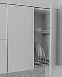 Кухня без ручок з фасадами з пластику на основі МДФ довільної конфігурації. На фото - 2,4 м (пряма кухня), фото 6