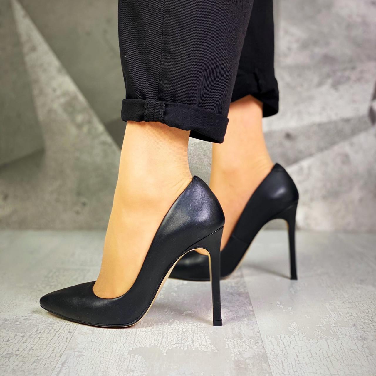Шикарные кожаные туфли на шпильке 36-40 р чёрный