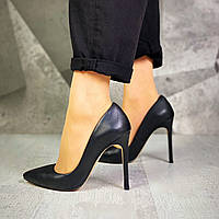 Шикарные кожаные туфли на шпильке 36-40 р чёрный, фото 1