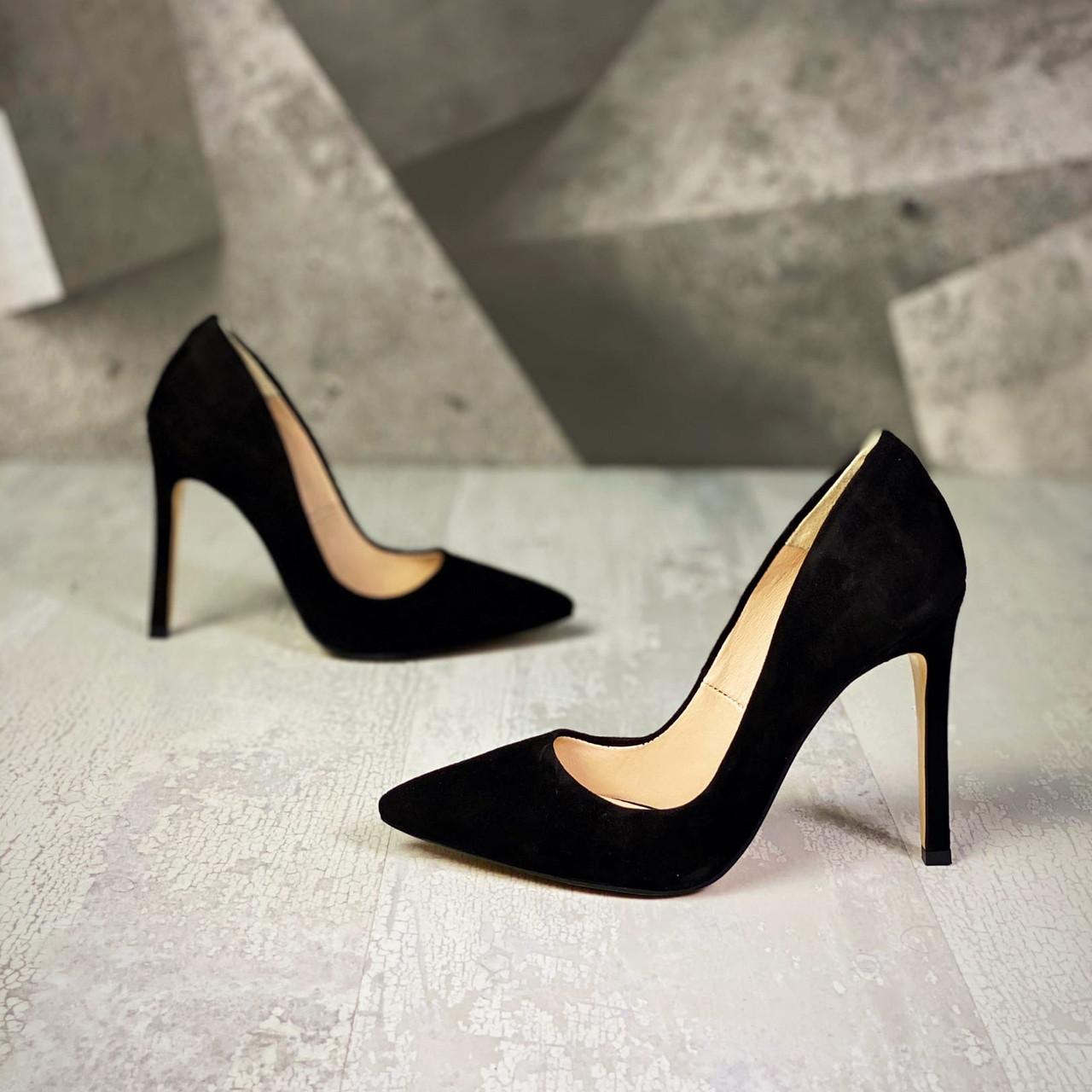 Шикарні замшеві туфлі на шпильці 36-40 р чорний