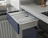 Кухня без ручок з фасадами з пластику на основі МДФ довільної конфігурації. На фото - 2,4 м (пряма кухня), фото 4