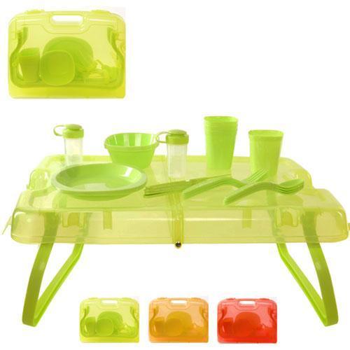 Набор для пикника на 4 персоны (столик и посуда) на 27 предметов