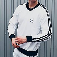 Свитшот толстовка мужская белая Adidas, кофта спортивная Адидас