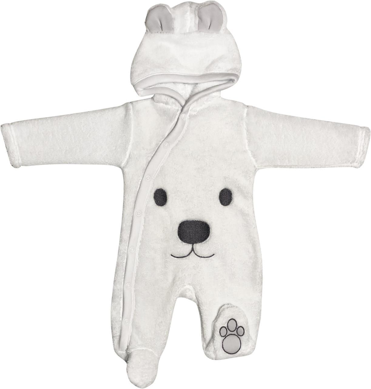 Детский тёплый человечек рост 56 0-2 мес махровый белый на мальчика девочку слип с капюшоном для новорожденных малышей М001