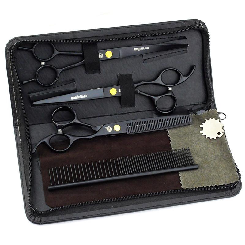 """7"""" дюймов комплект 3 шт. профессиональных ножниц  для стрижки домашних животных для груминга Univinlions"""