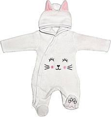 Детский тёплый человечек рост 56 0-2 мес махровый белый на мальчика девочку слип с капюшоном для новорожденных малышей К001