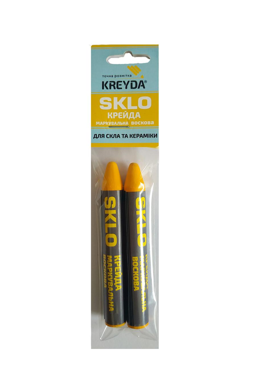 Для Стекла, мел восковой разметочный SKLO (желтые)  - 2шт