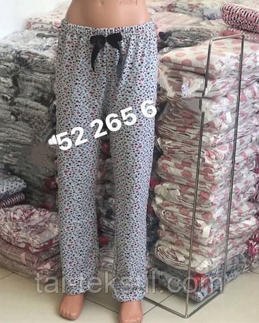 Женские домашние байковые брюки (хлопок 100% с начесом) Турция М-2XL (48-54р), фото 2