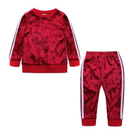 Велюровый  костюм двойка на девочку красный  1-5 лет весна-осень, фото 2
