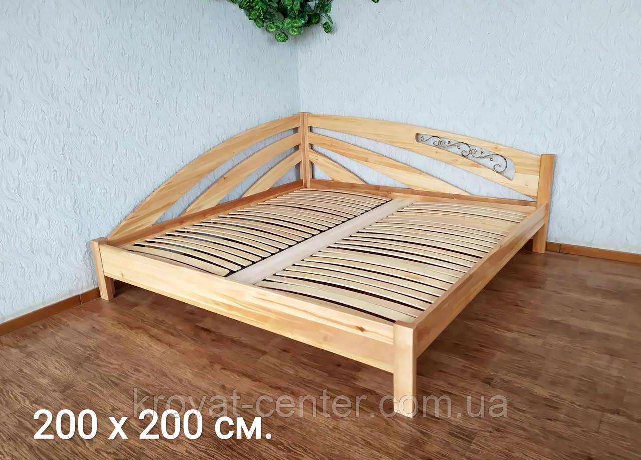 """Большая двуспальная кровать из массива дерева """"Радуга"""" угловая"""