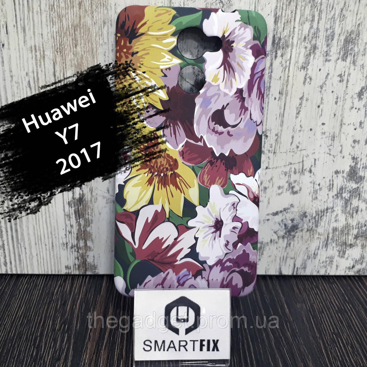 Чехол с рисунком для Huawei Y7 (2017) Цветочный микс