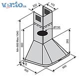 Ventolux Monaco 60 AN-800 кухонная вытяжка каминного типа, черная эмаль, фото 2