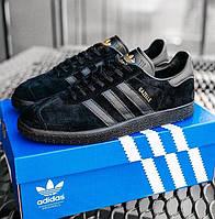 Мужские кроссовки Adidas Gazelle Triple Black черные демисезонные осень весна. Живое фото