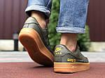 Мужские кроссовки Nike Air Force Gore-Tex (темно-зеленые) 9785, фото 3