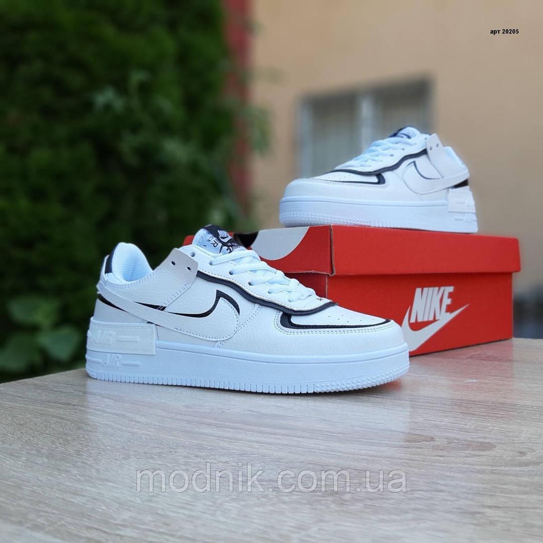 Женские кроссовки Nike Air Force 1 Shadow (бело-черные) 20205