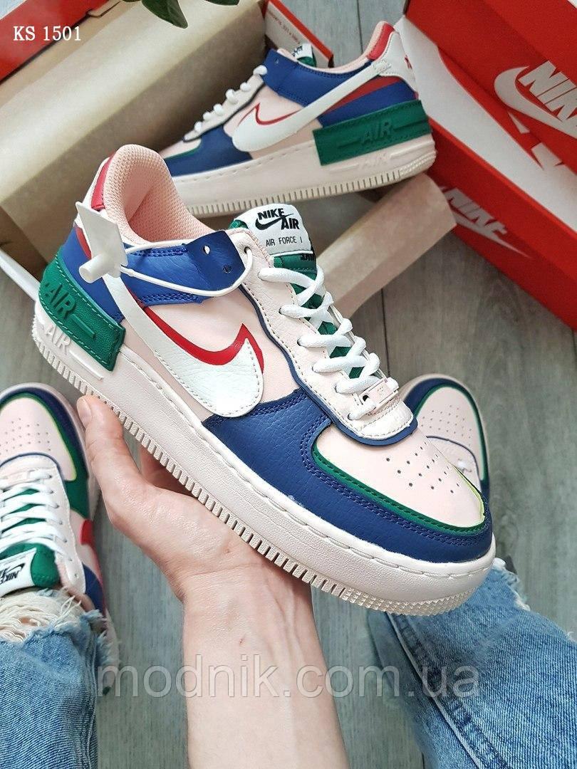 Женские кроссовки Nike Air Force 1 low (сине-розовые) KS 1501