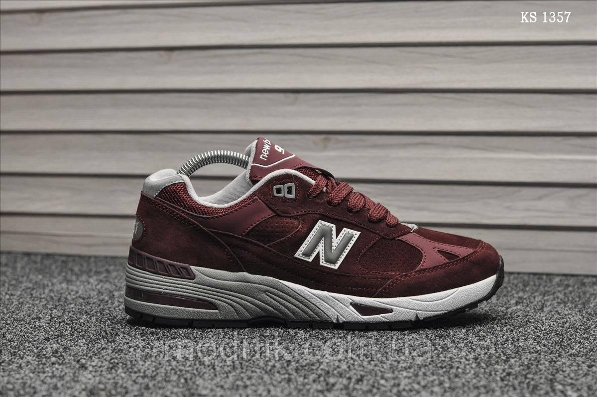 Мужские кроссовки New Balance 991 (бордовые) KS 1357