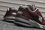 Мужские кроссовки New Balance 991 (бордовые) KS 1357, фото 2
