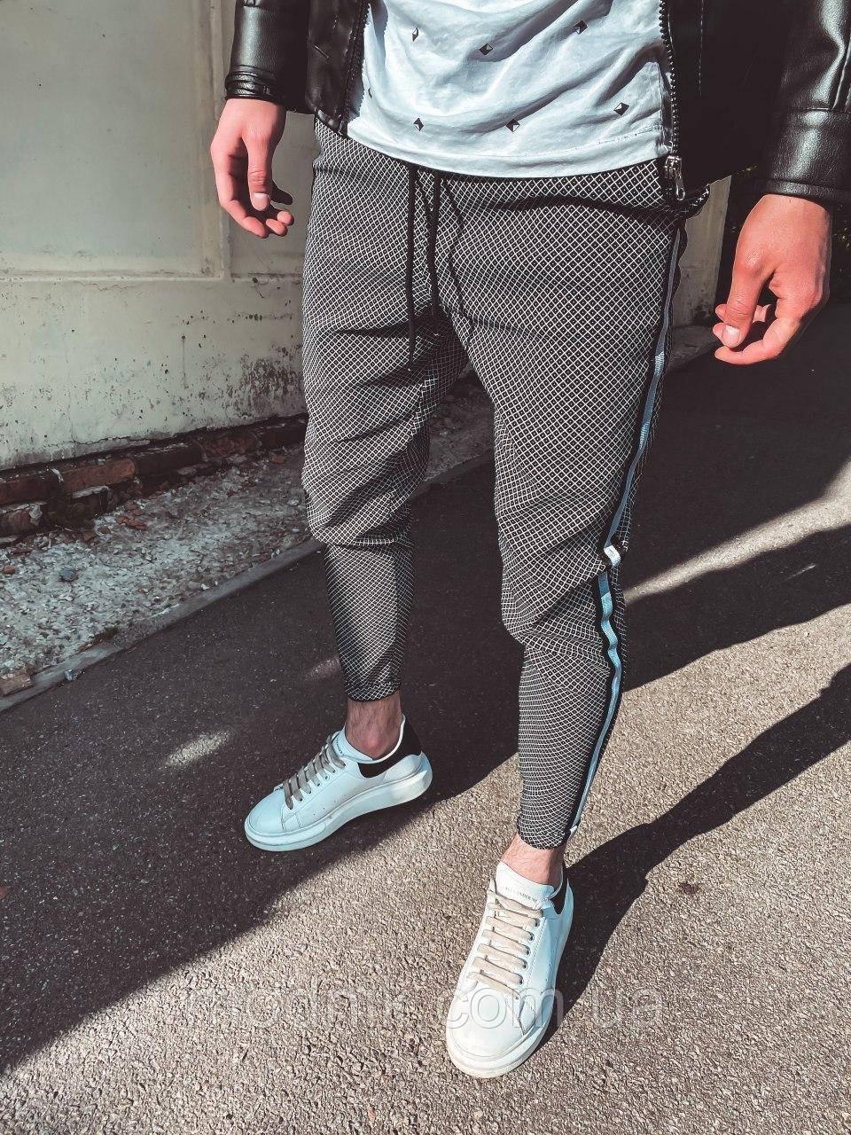 Мужские зауженные спортивные штаны (темно-серые) U9