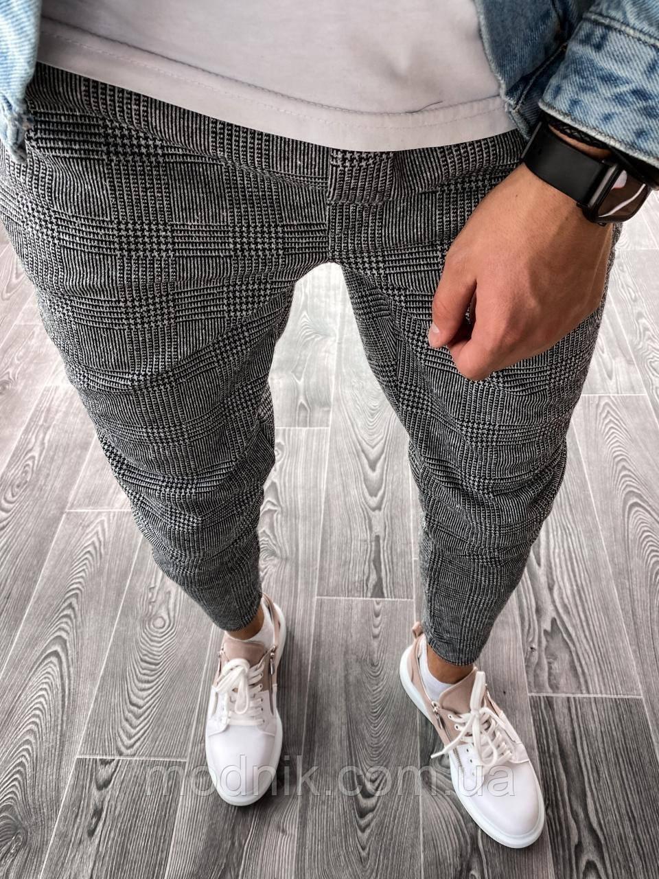 Мужские зауженные спортивные штаны (серо-черные) U5