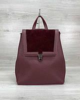 Бордовая женская сумка-рюкзак 46427 трансформер через плечо с замшевым клапаном, фото 1
