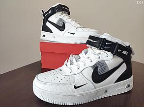 Мужские кроссовки Nike Air Force 1 07 Mid LV8 (бело-черные) D24