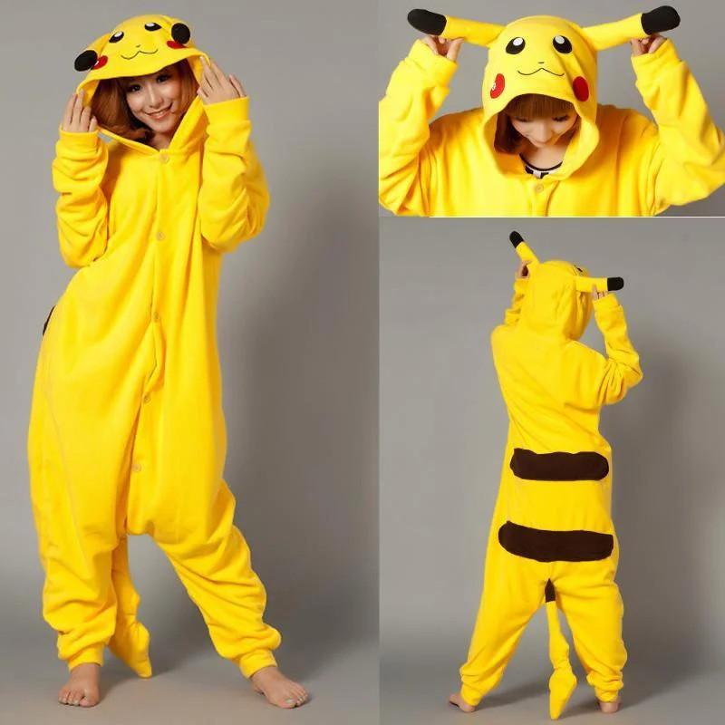 Пижама кигуруми Взрослые и Детские пикачу желтый