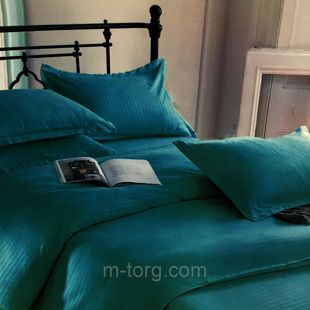"""""""бирюзовый"""" комплект постельного белья двуспальный размер 180*220 с большой евро простынью,ткань страйп-сатин"""