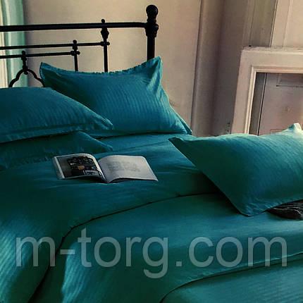 """""""бирюзовый"""" комплект постельного белья двуспальный размер 180*220 с большой евро простынью,ткань страйп-сатин, фото 2"""