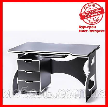 Комп'ютерні столи стіл регульований по висоті з тумбою Barsky Game White LED HG-06/LED/CUP-06/ПК-01, фото 2