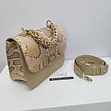 Жіноча бежева сумка AGATA Gold з натуральної шкіри пітона, фото 2
