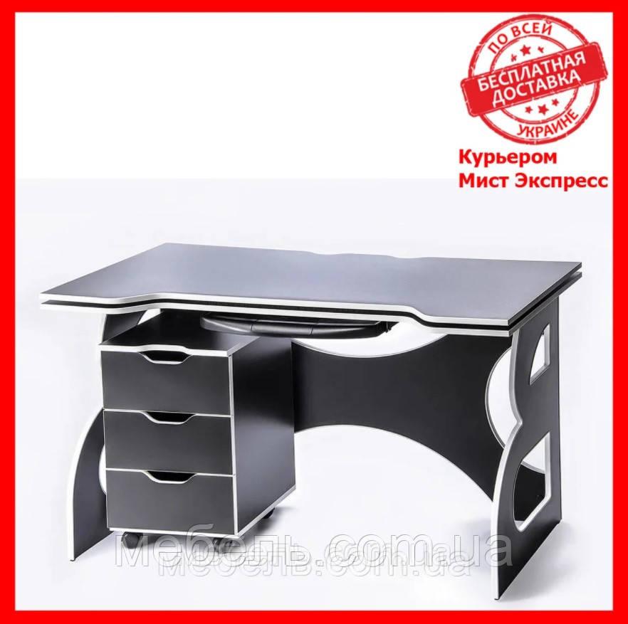 Офисный стол  с тумбой Barsky HG-06/LED/CUP-06/ПК-01 Game White