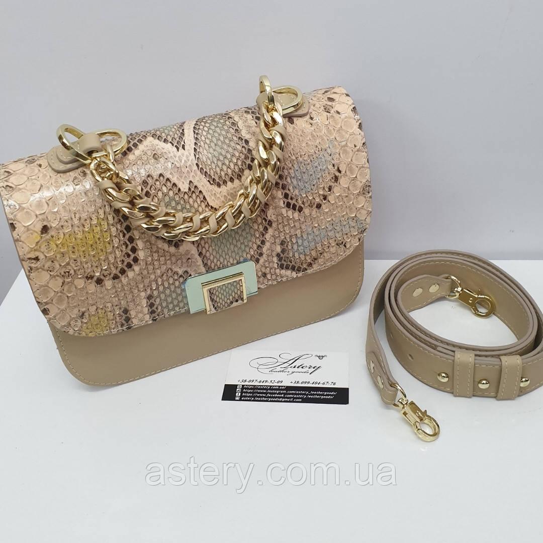 Жіноча бежева сумка AGATA Gold з натуральної шкіри пітона