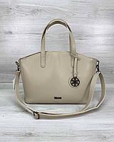 Женская бежевая сумка 59209 деловая офисная с длинными ручками на плечо, фото 1
