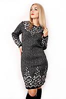 Вязаное черно-белое платье с узорами 4730 р 48-54