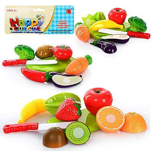 Набор игровых продуктов фрукты/овощи 666-17-8-9  разрезные, 3 вида, на липучке, досточка, нож, тарел